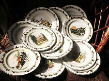 RARE DECO RIDGWAY COACHING DAYS 12 X PLATES DIFFERENT DESIGNS 4 X SALAD 8 X SIDE