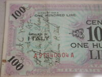 1943A Italy 100 Lire Military Currency WW2 Servicemen signed