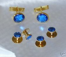 Cufflinks and Tuxedo Studs Gold Blue Sapphire New