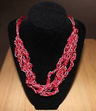 Red and Silver Ladder Yarn Necklace, Adjustable, Handmade! Free Ship in U.S.!