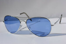 NEW Vintage Hip 80's Blue Lens Aviator Sunglasses Metal