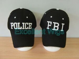 Black FBI Caps Police Caps Baseball Caps Hats One Size Party Unisex