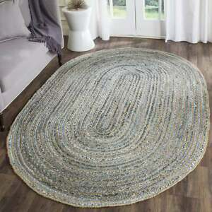 Denim Oval Rug Bohemian Denim Cotton Jute Area Rug Oval Shape Meditation Mat