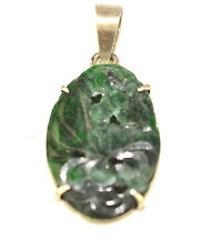 VINTAGE STERLING SILVER OVAL CARVED JADE PENDANT WITH FLOWERS AND LEAVES