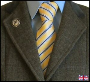 100% Silk Adult Show Tie. Yellow & Blue Striped.