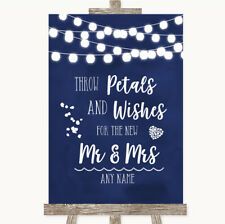 Wedding Sign Poster Print Navy Blue Watercolour Lights Petals Wishes Confetti