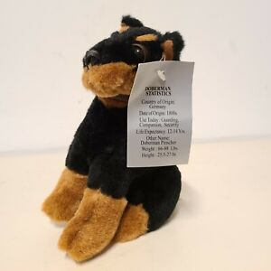 """Collectable 7"""" Plush Doberman With Statistics Tag for Dog Lovers"""