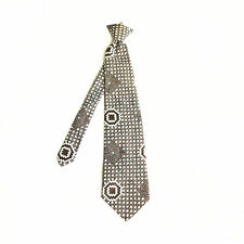 VINTAGE MENS TIE NECKTIE FORMAL CASUAL CLIP ON BARRY OF LONDON SILVER RED PLAID