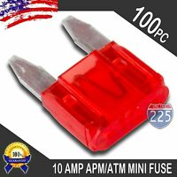 100 Pack 10A Mini Blade Style Fuses APM/ATM 32V Short Circuit Protection Fuse US