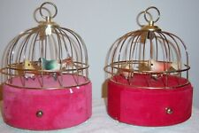 Two Vintage 1950s Mcm Automaton Swinging Bird Cage Music Box Mechanical Pink Red