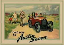 Austin Seven, British Car, 1930s, Art Deco, (297mm x 420mm) Advertising Print
