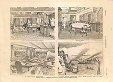 Salon Bureau de Amiral Courbet Le Bayard Ismaïlia Lac Timsah Egypte GRAVURE 1885