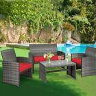 Patio Furniture Set Rattan 4-piece Table Chairs Conversation Set Outdoor Garden