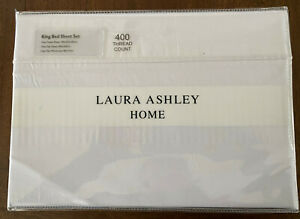 Laura Ashley KING SHEET SET  Windsor White 400TC Cotton Sateen Bed Linen 🌷