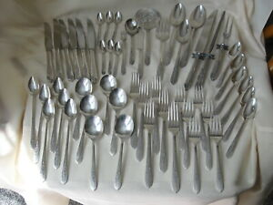 Oneida Nobility 53 Silverplate Royal Rose Forks Knives Spoons, Carve Set, Ice Ts
