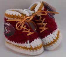 Handmade Crochet San Francisco 49ers Football Burgundy High Tops Baby Booties