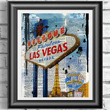 ART PRINT ON ANTIQUE BOOK PAGE Las Vegas Nevada wall decor picture dictionary