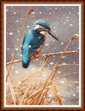 """'KINGFISHER IN THE SNOW' Cross Stitch PATTERN 11""""x15"""" Bird/Detailed/Nature NEW"""
