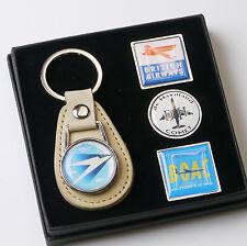 BRITISH AIRWAYS / BOAC Airlines Classic Keyring & Pin Badge Set - (#X011)