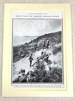 1914 Stampa Originale WW1 Atterraggio Presso Anzac Cove Gaba Tepe Australiano