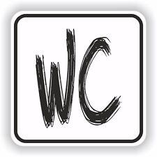 1x WC Restroom Sticker Sign Black & White Bathroom Toilet Door #09