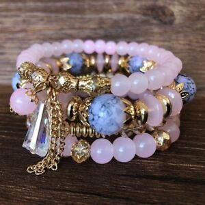 Multilayer Women Jewelry Natural Stone Crystal Turquoise Bangle Beaded Bracelet