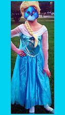 Disney Frozen Elsa Deluxe Child Halloween Costume Size L 10-12 Dress Tiara Wig