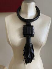 GIULIA BOCCAFOGLI Leather Fringe Pendant Necklace, Black