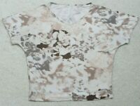 Juicy Couture White & Brown V-Neck T-Shirt Short Sleeve Medium Tee Top Women's