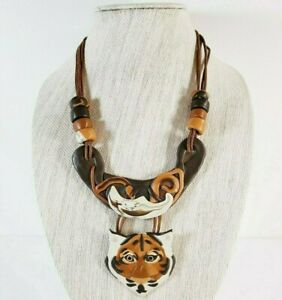 Polymer Clay Orange Bangle Tiger Necklace Hand Made Brown Leather Cord