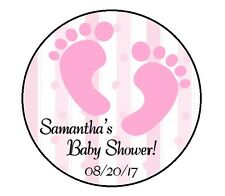 24 PINK GIRL FOOTPRINTS PERSONALIZED BABY SHOWER THANK YOU PARTY STICKERS FAVORS
