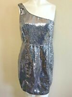 Forever 21 Juniors Large Dress Silver Sequin Short Party Dress Shimmer Shine