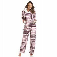 Camille Womens Ladies Sleepwear Nightwear Supersoft Fairisle Hooded Red Pyjamas