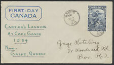 1934 #208 3c Jacques Cartier FDC, Gaspe PQ CDS
