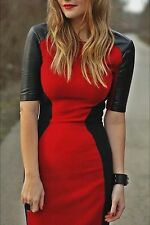 ZARA RED BLACK LEATHER SLEEVES PENCIL BODYCON DRESS L LARGE CELEBS BLOGGERS