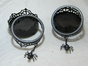 Yankee Candle Fall Halloween Set of 2 Pillar Candle Holders Spider Web Black