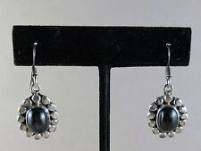 Sterling Earrings Pierced Black Onyx Dangle 9.8g [2235]