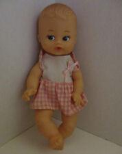 Playmates Baby 8 inch Doll 8080 Newborn Dress Gingham Drink Wet Pink Vintage