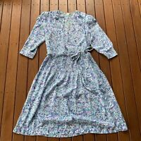 Vintage Kenwall Size 18 1/2 Floral Dress Fit & Flare Long Sleeve Pleated Belt