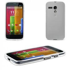 Silikon Hülle Tasche für Motorola Moto G Case Cover Schutz TPU transparent weiß