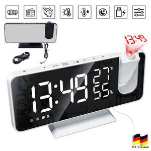 Funk Radiowecker mit Projektion LED USB FM Digital Dimmbar Tischuhr Alarm Wecker