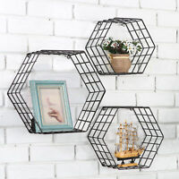 Metal Wire Hexagon Design Wall-Mounted Shelves, Set of 3, Black