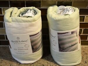 """Set of 2 - Hearth&Hand with Magnolia Pillow Shams 20""""x26"""" Striped White-Green"""