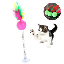 BU_ Pet Cats Kitten Suction Cup Feather Spring Ball Teaser Interactive Toy Magic