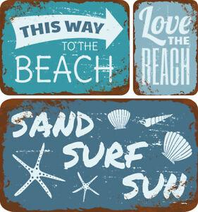 SUN SEA SURF, LOVE THE BEACH, THIS WAY TO BEACH METAL SIGN RETRO SIGN BEACH BAR