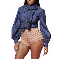 Fashion Womens long sleeves ruffled denim blue club Ladies Shirt Tops Blouse
