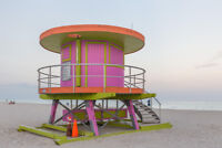 Pink Lifeguard Tower at Miami Beach Photo Art Print Poster 18x12 inch