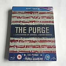 The Purge Collection 1 & 2 Blu-Ray Steelbook [UK] HMV Exclusive! Region Free!