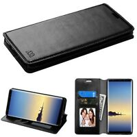 Black MyJacket Wallet ( with Tray) leather COVER CASE For Samsung Galaxy Note 8