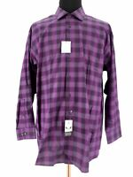 Calvin Klein Mens Purple Button Up Plaid Dress Shirt Size 18.5 34/35 Big & Tall